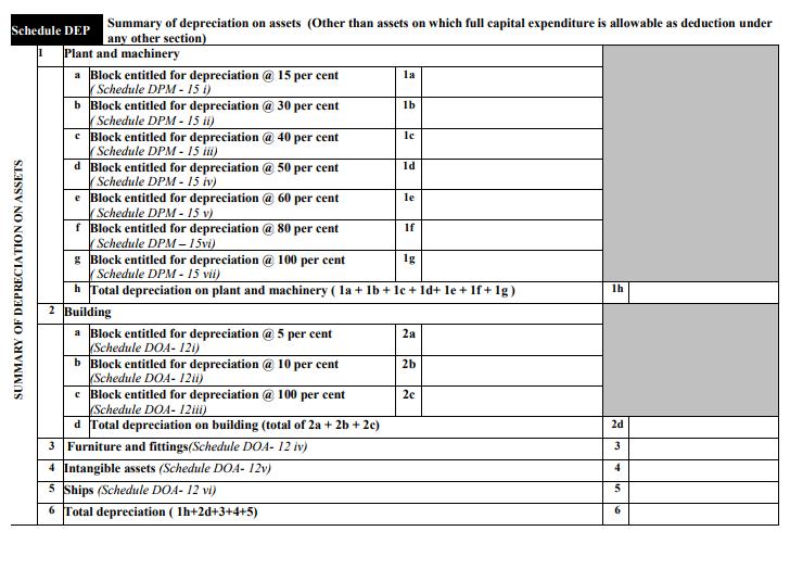 ITR-3 Form Schedule DEP