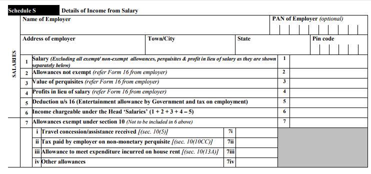 ITR-3 Form Schedule S